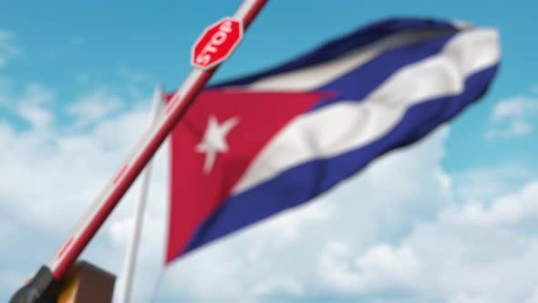 Thumbnail for Closing Boom Barrier with Stop Sign at the Cuban Flag