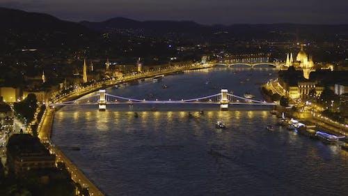 Stunning Evening View of The Szechenyi Chain Bridge in Budapest, Hungary