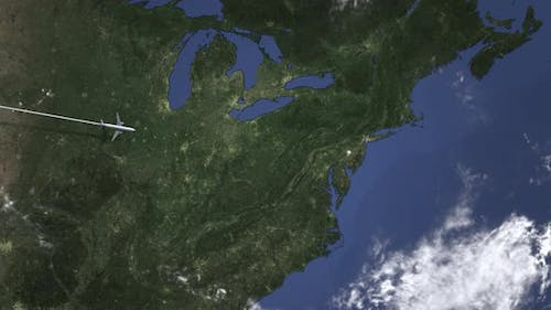 Commercial Airplane Flying To Philadelphia