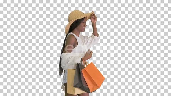 Thumbnail for Happy african american woman in straw, Alpha Channel