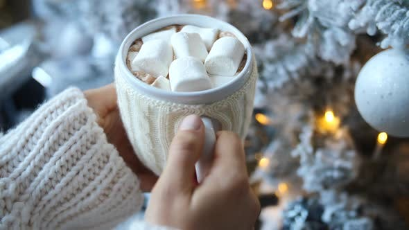 Thumbnail for Celebrating Christmas Holidays At Home. Hot Chocolate With Marshmallow.