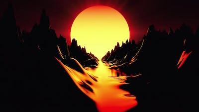 Futuristic Retro 80s Sunset
