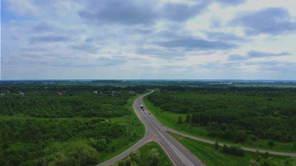 Thumbnail for Aerial View Of Cars On Highway At Nature