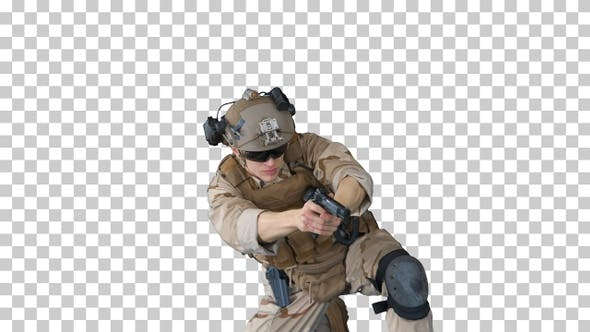 Thumbnail for Soldier is shooting with hand pistol sitting, Alpha Channel