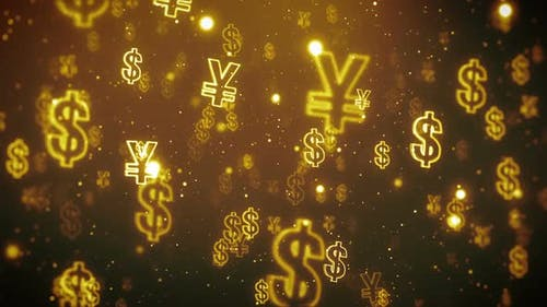 Dollar Yuan Currency Icons Flying