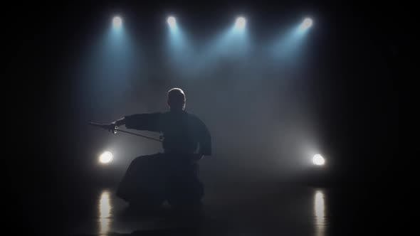 Thumbnail for Kendo Fighter Practicing Martial Art with the Katana Sword. Slow Motion