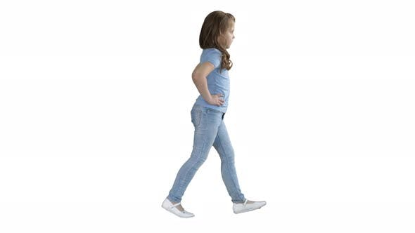 Thumbnail for Little Girl in Casual Clothes Walking on White Background