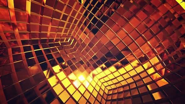Thumbnail for Inside Golden Mirror Disco Cube Neutral Vj Background