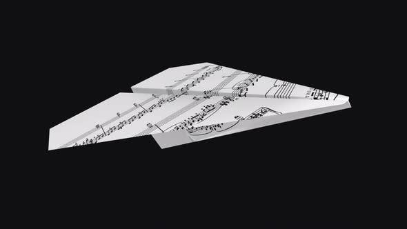 Paper Plane - Music Notes - Flying Loop - Top Side Angle