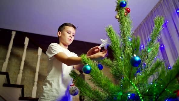 Boy schmückt Weihnachtsbaum. Glückliche Kinder schmücken den Weihnachtsbaum