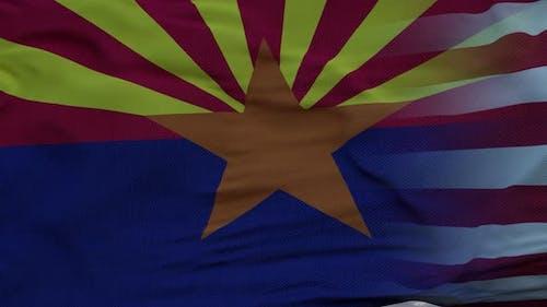 USA and Arizona Mixed Flag Waving in Wind