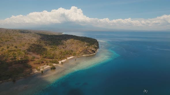 Aerial View Beautiful Beach on Tropical Island Menjangan
