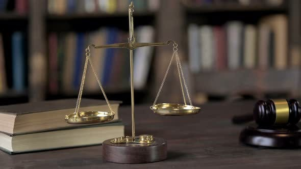 Thumbnail for Gold Brass Balance Scale on Judge Wooden Table