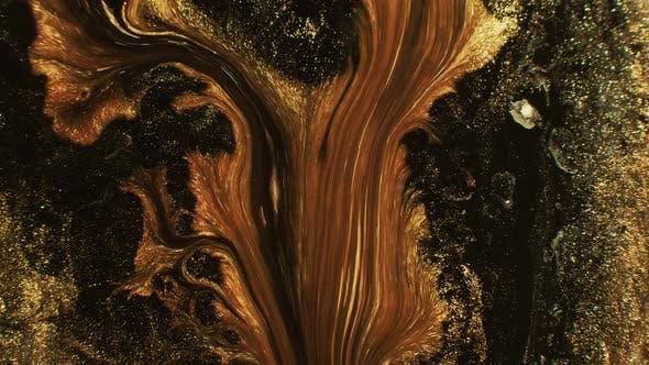 Thumbnail for Glitter Ink Mix Golden Black Fluid Flow Motion