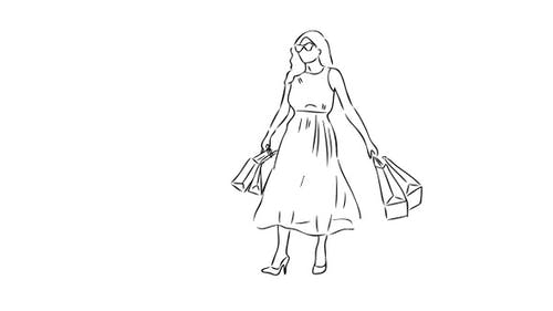 «Hand Drawn Happy Girl After Shopping» avec fond transparent
