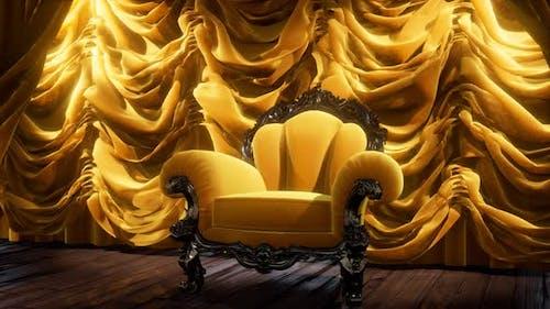 Luxuriöser Theatervorhang Bühne mit Stuhl