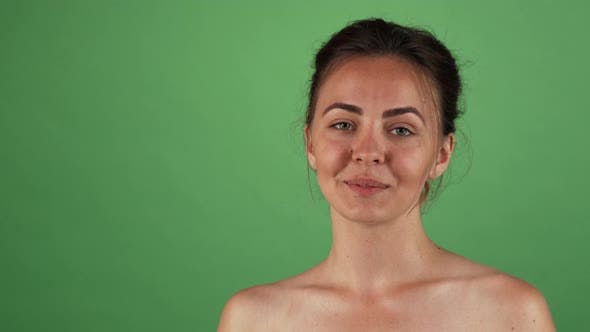 Thumbnail for Beautiful Happy Woman Posing Playfully on Green Chromakey