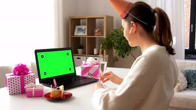 Woman with Laptop Having Virtual Birthday Party