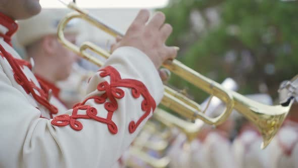 Saxophone Close Up Bulgarian Guards Brass Band in Traditional Clothes