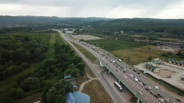 Cover Image for Aerial View of Freeway Busy Rush Hour Heavy Traffic Jam Highway