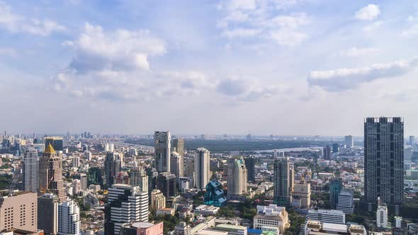 Bangkok business district city center and Chao Phraya River – Time Lapse