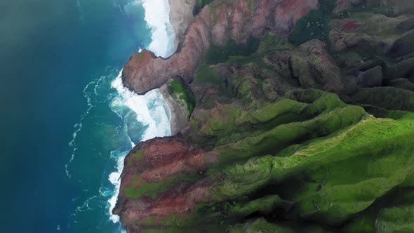 Thumbnail for Aerial Survey Rising From Top View of Surf Line To Panoramic Scene of Beautiful Hawaiian Coastline