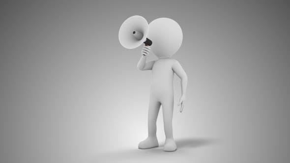 3D Man Speaking With Megaphone Loop
