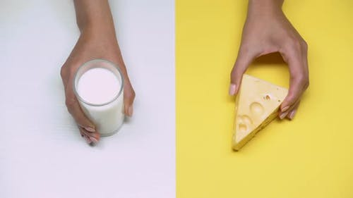 Glass of Milk and Cheese, Dairy Products Rich in Calcium, Lactose Intolerance