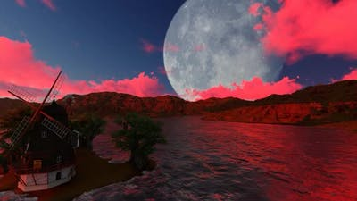 Full moon and cloud of blood