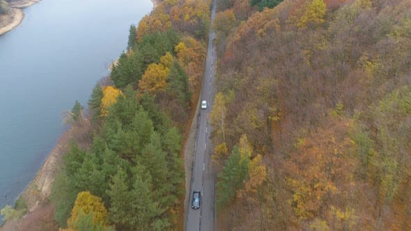Thumbnail for Black Car Passing White Vehicle on Forest Highway Near Lake Shore in Sunny Autumn Day