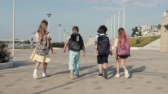 Thumbnail for School Kids Walking with Backpacks