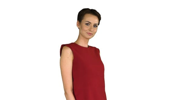 Thumbnail for Girl trying red dress turning around like looking in mirror