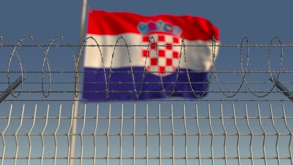 Thumbnail for Flag of Croatia Behind Barbed Wire Fence