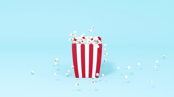 Scattered popcorn, sweet food.