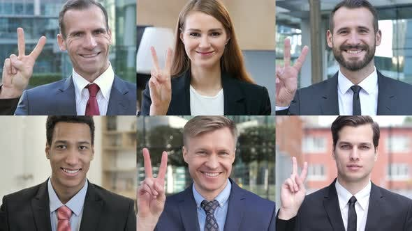 Thumbnail for Collage of Business People Showing Victory Sign