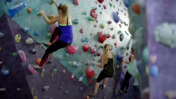 Thumbnail for Three Female Climbers Bouldering on Vertical Wall at Indoor Gym
