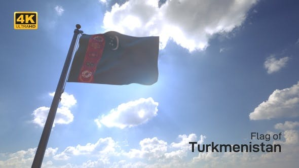 Turkmenistan Flag on a Flagpole V4 - 4K