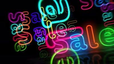 Sale neon symbol 3d flight between