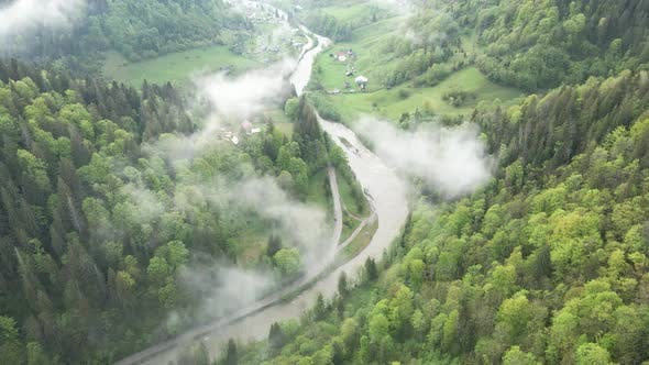 Thumbnail for Ukraine, Carpathian Mountains: River in the Mountains. Aerial