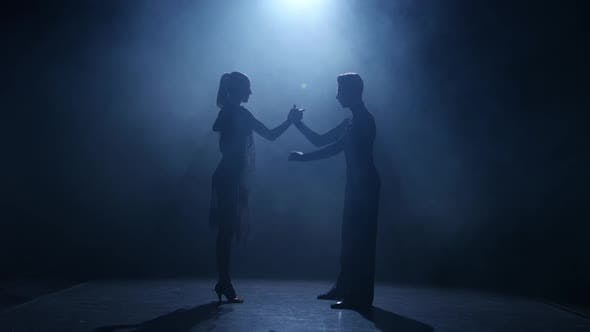 Thumbnail for Dance Element From the Rumba, Silhouette Couple Ballroom. Black Background