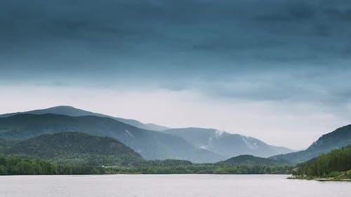 Norway. Beautiful Lake Kroderen In Summer Cloudy Day. Norwegian Nature. Kroderfjorden In