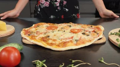 Tasty baked pizza