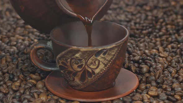Thumbnail for Coffee Poured Into A Cup