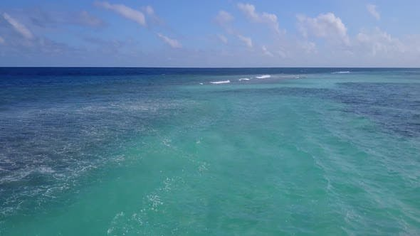 Thumbnail for Drone travel of lagoon beach by clear water with sand background