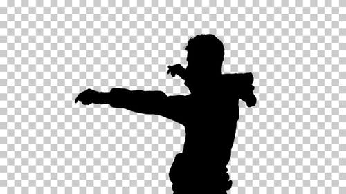 Silhouette Man Walking and Dancing, Alpha Channel