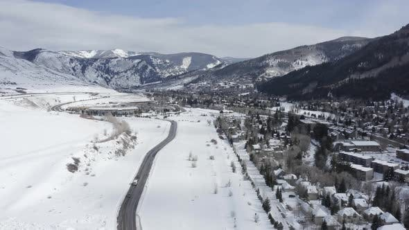 Cover Image for Eagle Vail Valley Avon Aerial Winter View Snowy Colorado Mountain Landscape