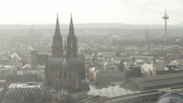 Thumbnail for AERIAL: Cologne Hohenzollern Bridge and View on Cathedral with Central Train Station in Beautiful