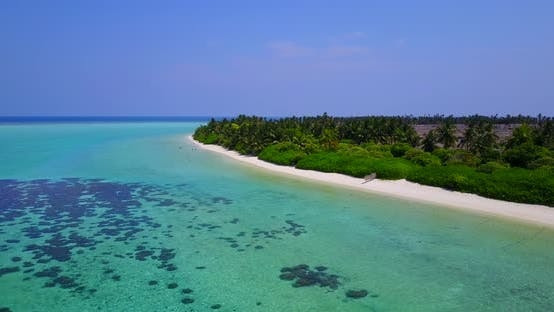 Thumbnail for Daytime birds eye clean view of a sandy white paradise beach and aqua blue ocean background in color