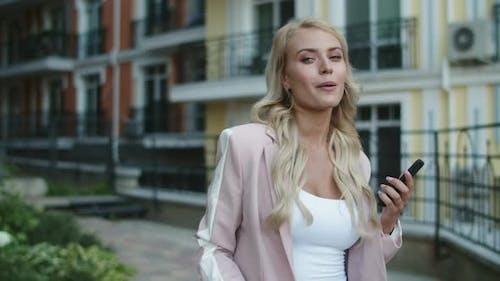 Portrait Blonde Woman Using Face Time . Pretty Businesswoman Talking Video Chat