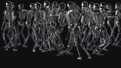 4K Chrome metallic dancing skeletons
